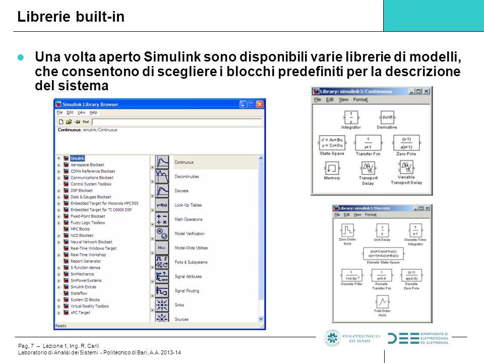 Pag. 7 – Lezione 1, Ing. R. Carli Laboratorio di Analisi dei Sistemi - Politecnico di Bari, A.A. 2013-14 Una volta aperto Simulink sono disponibili va