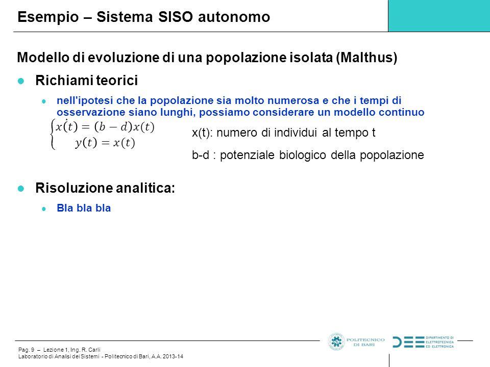 Pag. 9 – Lezione 1, Ing. R. Carli Laboratorio di Analisi dei Sistemi - Politecnico di Bari, A.A. 2013-14 Modello di evoluzione di una popolazione isol