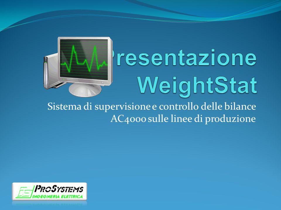 Presentazione Il sistema WeightStat consente il monitoraggio ed il controllo delle bilance AC4000 installate sulle linee di produzione.