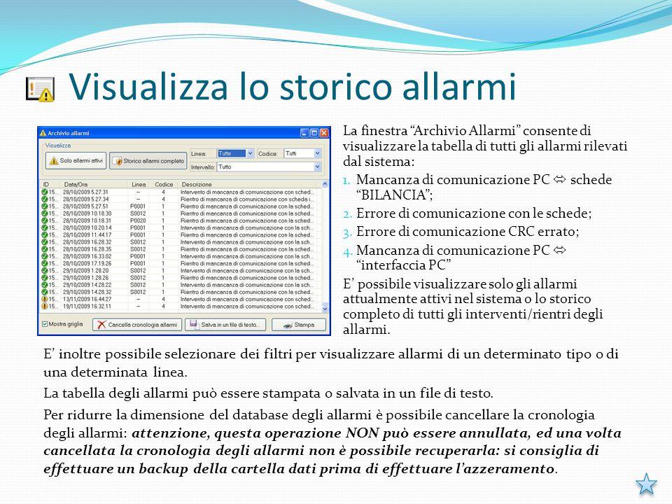 """Visualizza lo storico allarmi La finestra """"Archivio Allarmi"""" consente di visualizzare la tabella di tutti gli allarmi rilevati dal sistema: 1. Mancanz"""