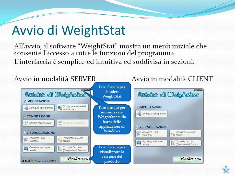 """Avvio di WeightStat All'avvio, il software """"WeightStat"""" mostra un menù iniziale che consente l'accesso a tutte le funzioni del programma. L'interfacci"""