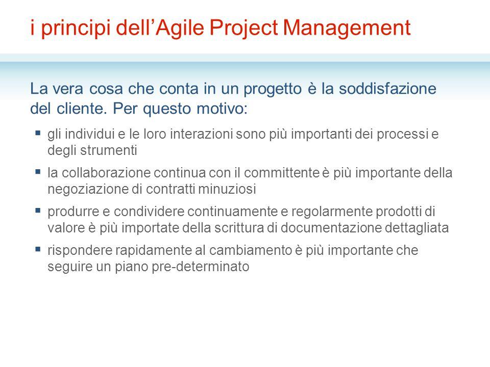 i principi dell'Agile Project Management La vera cosa che conta in un progetto è la soddisfazione del cliente.