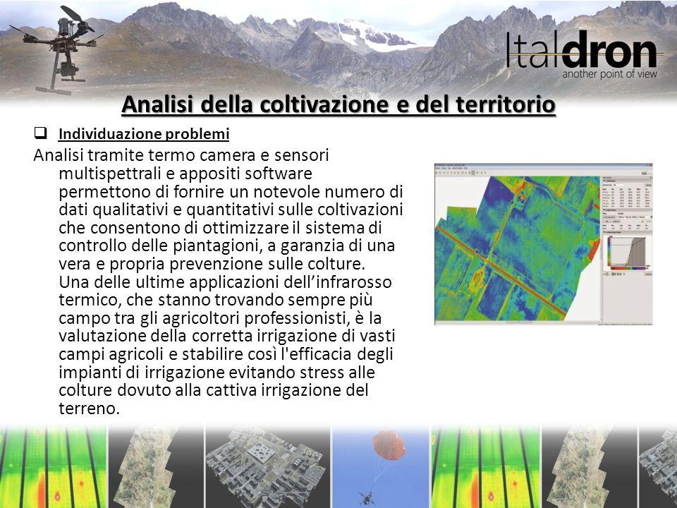 Analisi della coltivazione e del territorio  Individuazione problemi Analisi tramite termo camera e sensori multispettrali e appositi software permet