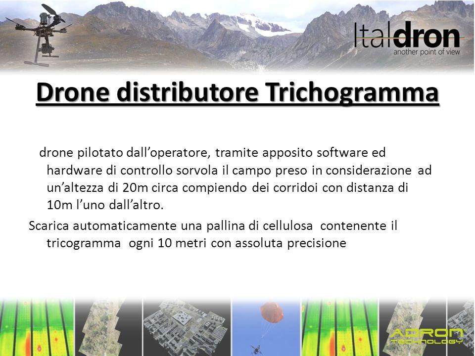 Drone distributore Trichogramma Il drone pilotato dall'operatore, tramite apposito software ed hardware di controllo sorvola il campo preso in conside