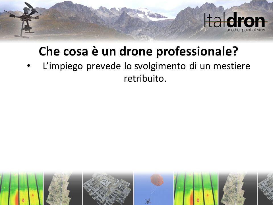 Che cosa è un drone professionale.L'impiego prevede lo svolgimento di un mestiere retribuito.
