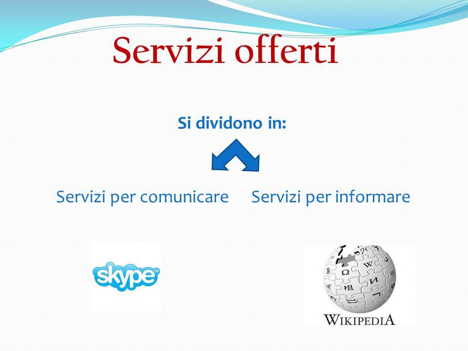 Servizi offerti Si dividono in: Servizi per comunicareServizi per informare