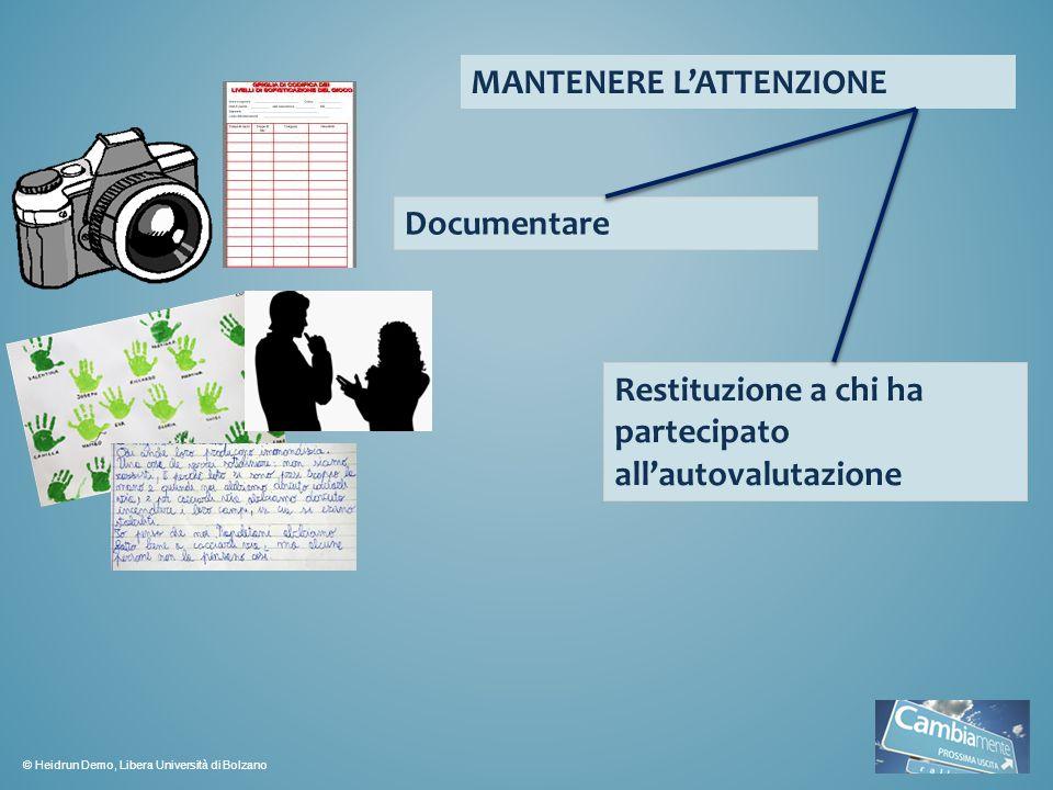 MANTENERE L'ATTENZIONE Documentare Restituzione a chi ha partecipato all'autovalutazione © Heidrun Demo, Libera Università di Bolzano