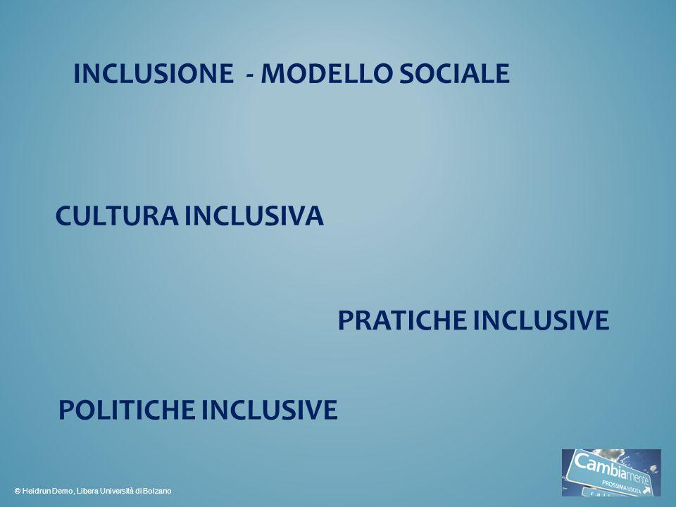 INCLUSIONE - MODELLO SOCIALE CULTURA INCLUSIVA PRATICHE INCLUSIVE POLITICHE INCLUSIVE © Heidrun Demo, Libera Università di Bolzano