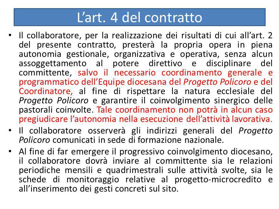 L'art. 4 del contratto Il collaboratore, per la realizzazione dei risultati di cui all'art. 2 del presente contratto, presterà la propria opera in pie