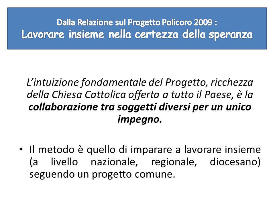 L'intuizione fondamentale del Progetto, ricchezza della Chiesa Cattolica offerta a tutto il Paese, è la collaborazione tra soggetti diversi per un unico impegno.