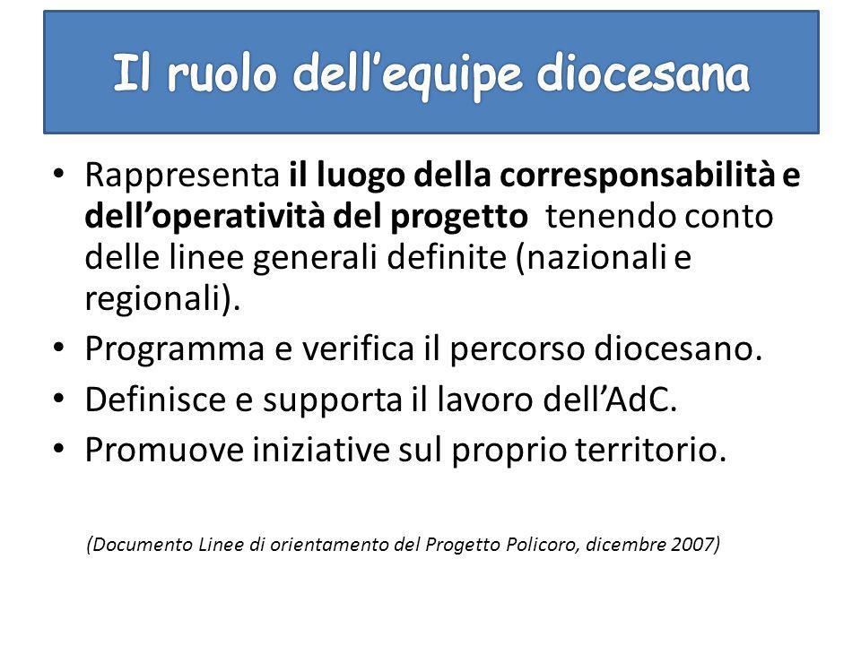 Rappresenta il luogo della corresponsabilità e dell'operatività del progetto tenendo conto delle linee generali definite (nazionali e regionali). Prog