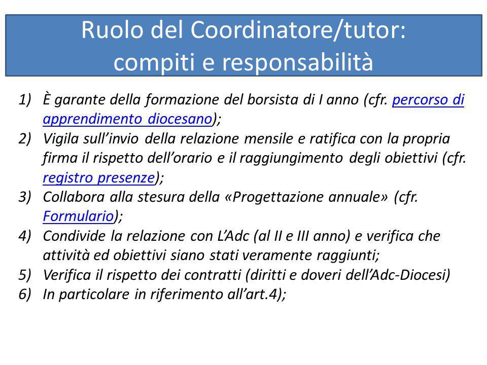 Ruolo del Coordinatore/tutor: compiti e responsabilità 1)È garante della formazione del borsista di I anno (cfr. percorso di apprendimento diocesano);