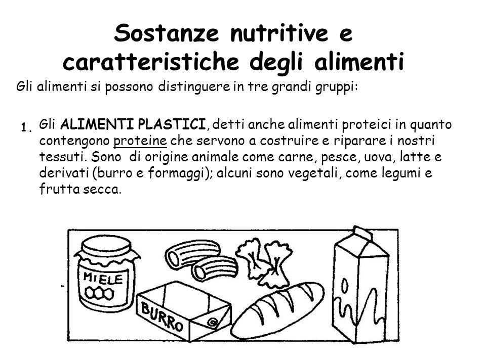 Sostanze nutritive e caratteristiche degli alimenti Gli alimenti si possono distinguere in tre grandi gruppi: Gli ALIMENTI PLASTICI, detti anche alime