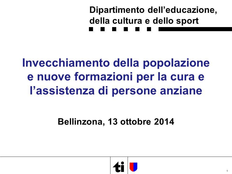 Invecchiamento della popolazione e nuove formazioni per la cura e l'assistenza di persone anziane Bellinzona, 13 ottobre 2014 1 Dipartimento dell'educazione, della cultura e dello sport