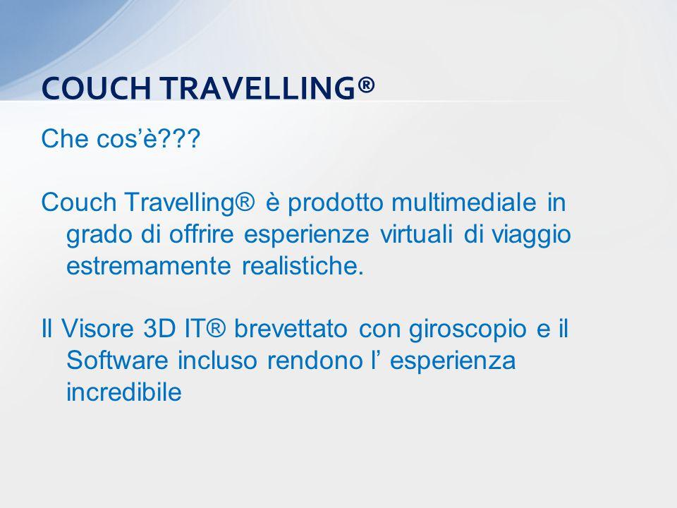Che cos'è??? Couch Travelling® è prodotto multimediale in grado di offrire esperienze virtuali di viaggio estremamente realistiche. Il Visore 3D IT® b