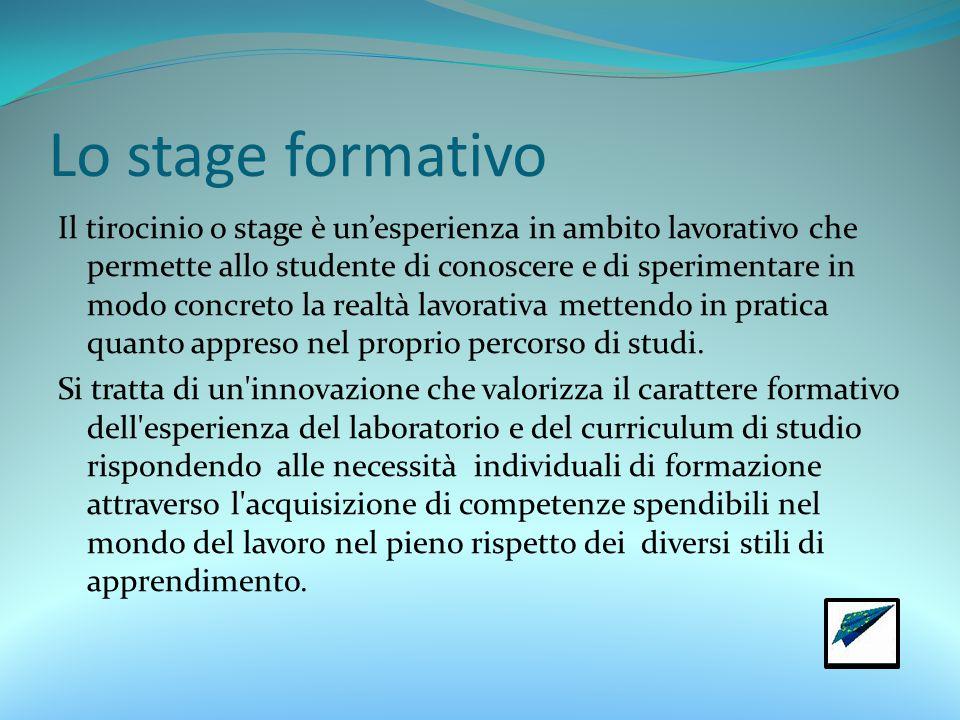 Lo stage formativo Il tirocinio o stage è un'esperienza in ambito lavorativo che permette allo studente di conoscere e di sperimentare in modo concreto la realtà lavorativa mettendo in pratica quanto appreso nel proprio percorso di studi.