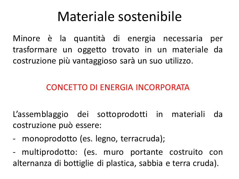 Materiale sostenibile Minore è la quantità di energia necessaria per trasformare un oggetto trovato in un materiale da costruzione più vantaggioso sarà un suo utilizzo.