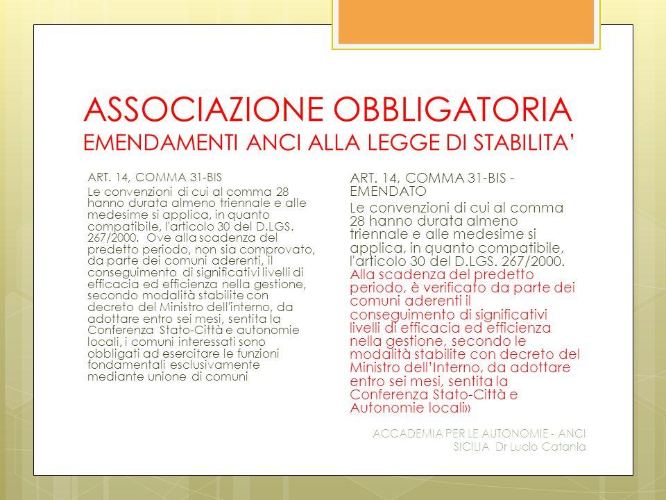 ASSOCIAZIONE OBBLIGATORIA EMENDAMENTI ANCI ALLA LEGGE DI STABILITA' ACCADEMIA PER LE AUTONOMIE - ANCI SICILIA Dr Lucio Catania ART.