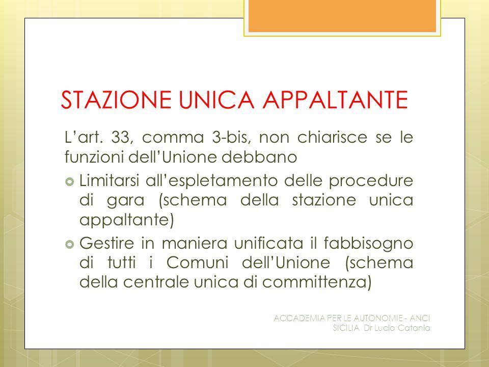 STAZIONE UNICA APPALTANTE L'art. 33, comma 3-bis, non chiarisce se le funzioni dell'Unione debbano  Limitarsi all'espletamento delle procedure di gar