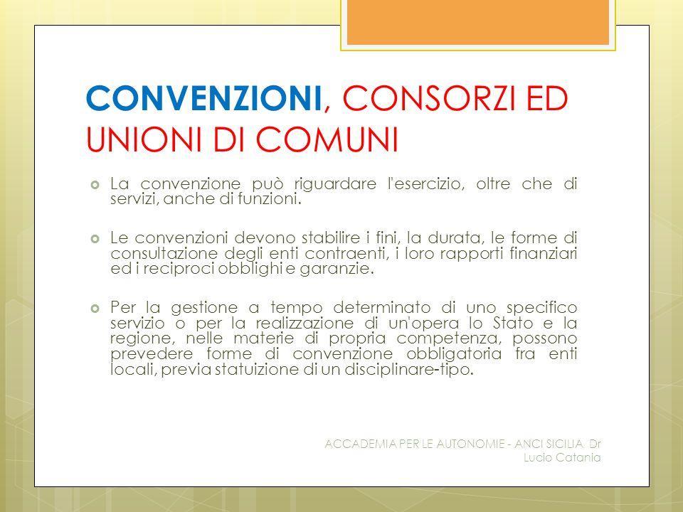 CONVENZIONI, CONSORZI ED UNIONI DI COMUNI  La convenzione può riguardare l'esercizio, oltre che di servizi, anche di funzioni.  Le convenzioni devon