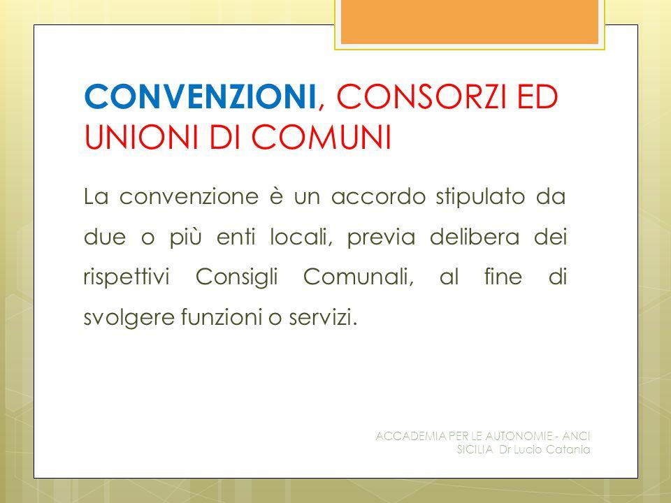 CONVENZIONI, CONSORZI ED UNIONI DI COMUNI La convenzione è un accordo stipulato da due o più enti locali, previa delibera dei rispettivi Consigli Comunali, al fine di svolgere funzioni o servizi.