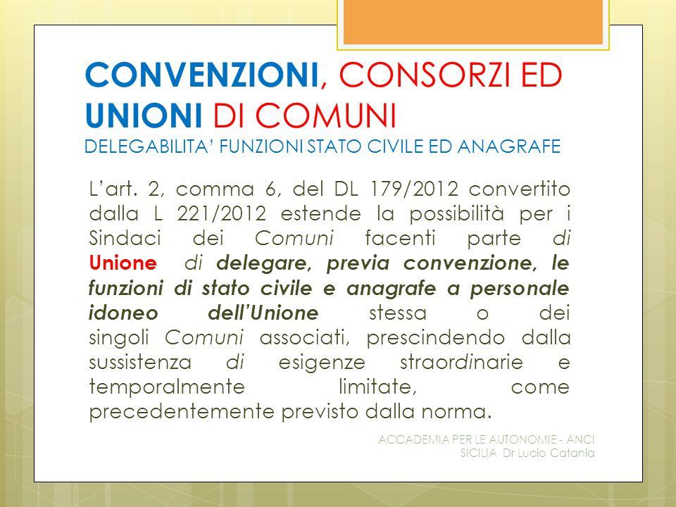 CONVENZIONI, CONSORZI ED UNIONI DI COMUNI DELEGABILITA' FUNZIONI STATO CIVILE ED ANAGRAFE L'art.