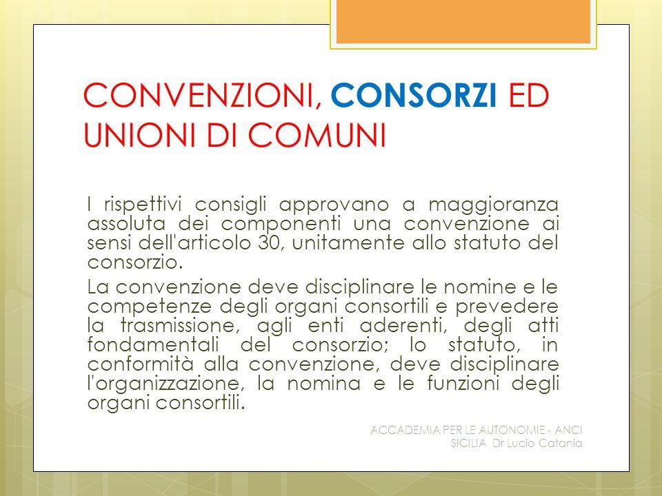 CONVENZIONI, CONSORZI ED UNIONI DI COMUNI I rispettivi consigli approvano a maggioranza assoluta dei componenti una convenzione ai sensi dell articolo 30, unitamente allo statuto del consorzio.