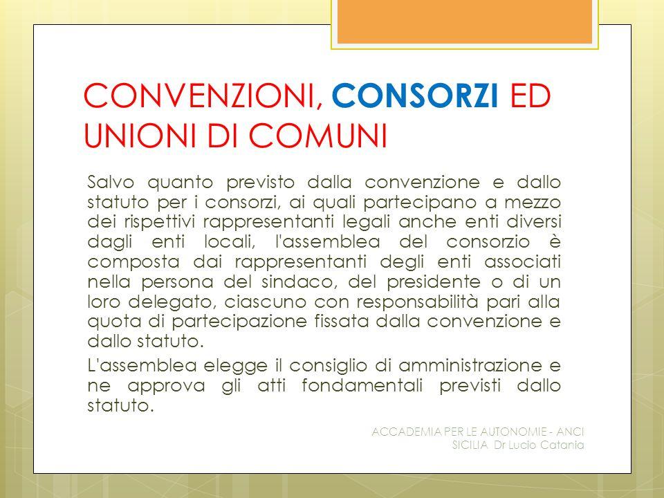 CONVENZIONI, CONSORZI ED UNIONI DI COMUNI Salvo quanto previsto dalla convenzione e dallo statuto per i consorzi, ai quali partecipano a mezzo dei ris