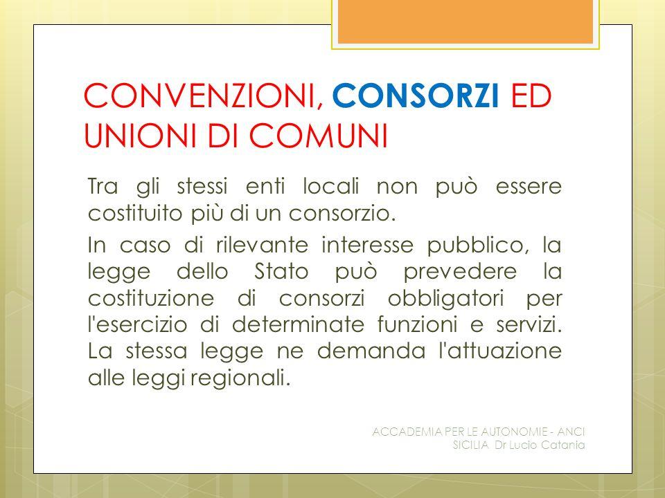 CONVENZIONI, CONSORZI ED UNIONI DI COMUNI Tra gli stessi enti locali non può essere costituito più di un consorzio.