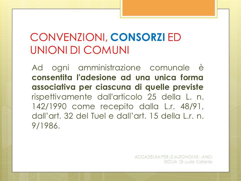 CONVENZIONI, CONSORZI ED UNIONI DI COMUNI Ad ogni amministrazione comunale è consentita l adesione ad una unica forma associativa per ciascuna di quelle previste rispettivamente dall articolo 25 della L.