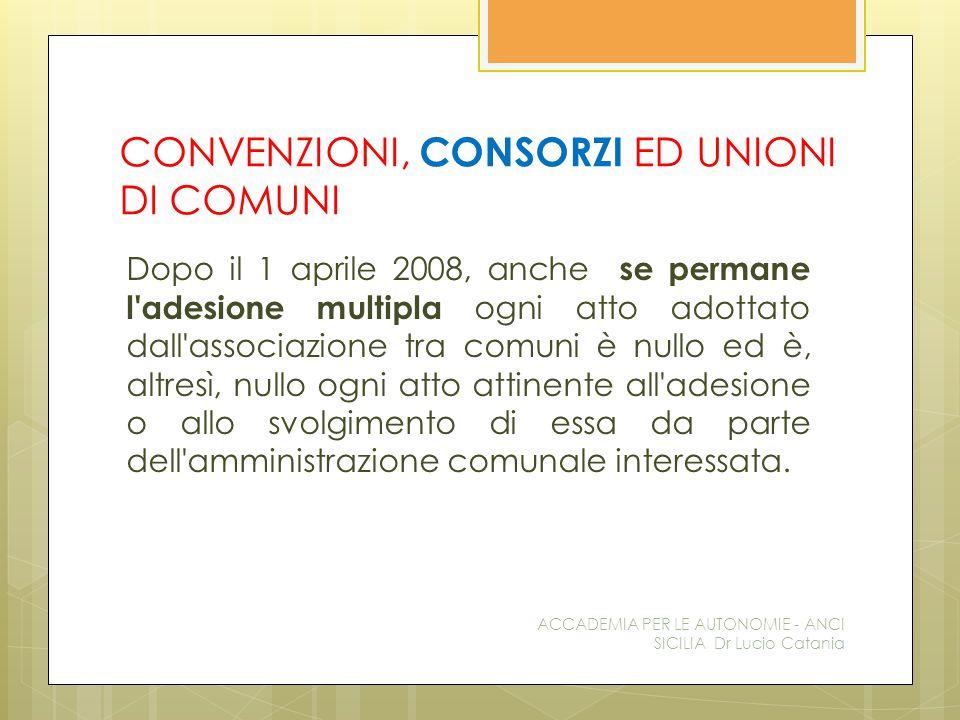 CONVENZIONI, CONSORZI ED UNIONI DI COMUNI Dopo il 1 aprile 2008, anche se permane l'adesione multipla ogni atto adottato dall'associazione tra comuni