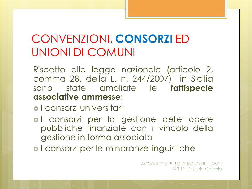 CONVENZIONI, CONSORZI ED UNIONI DI COMUNI Rispetto alla legge nazionale (articolo 2, comma 28, della L.