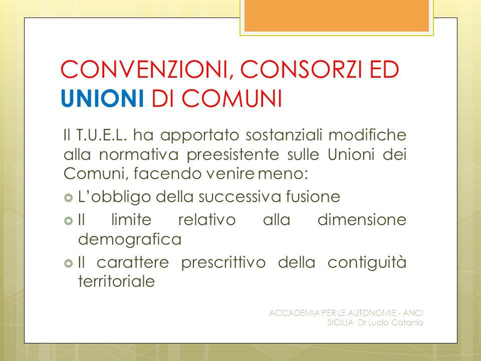 CONVENZIONI, CONSORZI ED UNIONI DI COMUNI Il T.U.E.L.