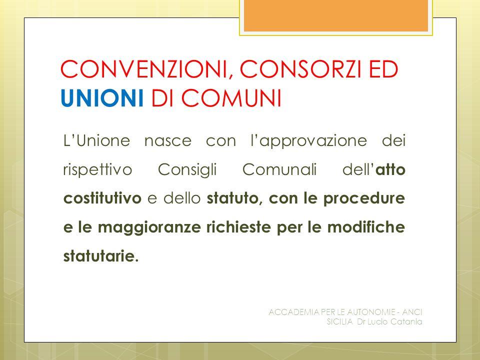 CONVENZIONI, CONSORZI ED UNIONI DI COMUNI L'Unione nasce con l'approvazione dei rispettivo Consigli Comunali dell' atto costitutivo e dello statuto, con le procedure e le maggioranze richieste per le modifiche statutarie.