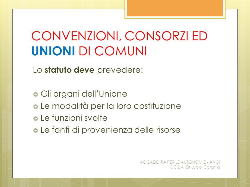 CONVENZIONI, CONSORZI ED UNIONI DI COMUNI Lo statuto deve prevedere:  Gli organi dell'Unione  Le modalità per la loro costituzione  Le funzioni svo