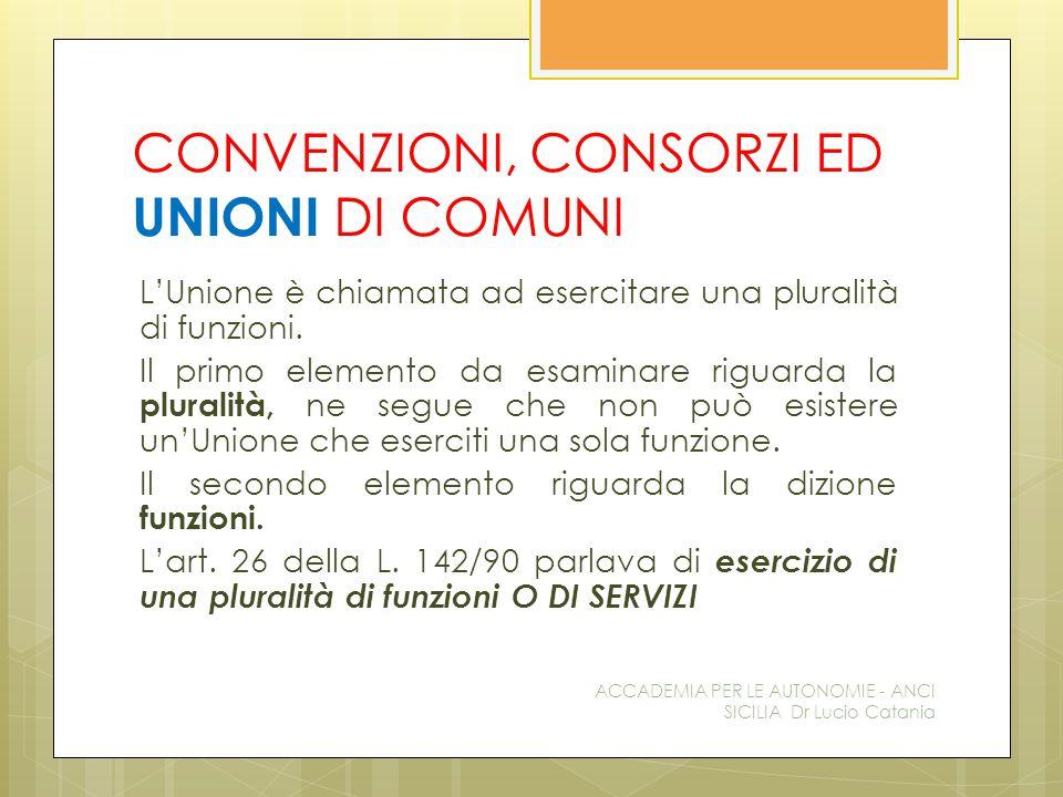CONVENZIONI, CONSORZI ED UNIONI DI COMUNI L'Unione è chiamata ad esercitare una pluralità di funzioni. Il primo elemento da esaminare riguarda la plur