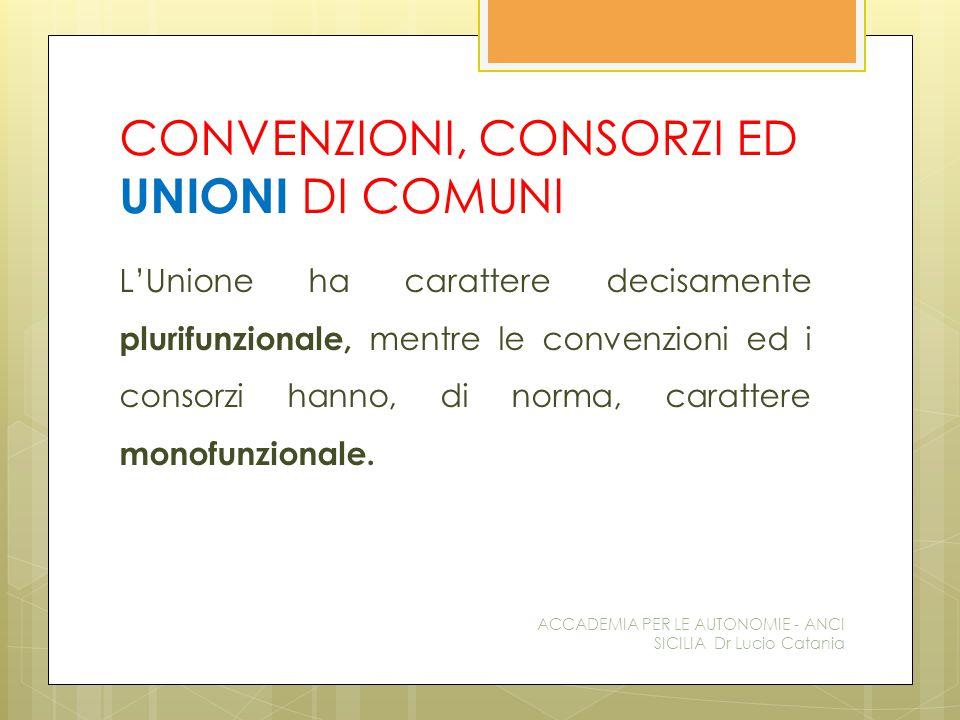 CONVENZIONI, CONSORZI ED UNIONI DI COMUNI L'Unione ha carattere decisamente plurifunzionale, mentre le convenzioni ed i consorzi hanno, di norma, carattere monofunzionale.