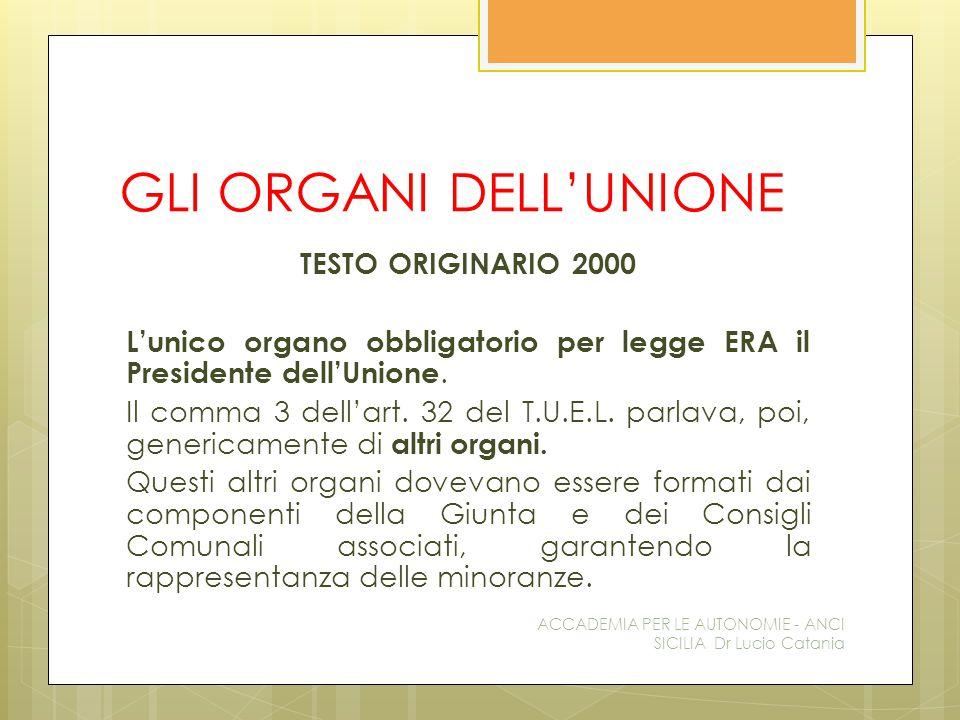GLI ORGANI DELL'UNIONE TESTO ORIGINARIO 2000 L'unico organo obbligatorio per legge ERA il Presidente dell'Unione.