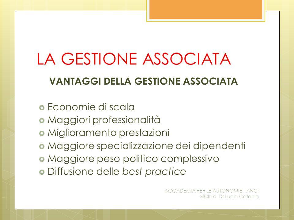 LA GESTIONE ASSOCIATA VANTAGGI DELLA GESTIONE ASSOCIATA  Economie di scala  Maggiori professionalità  Miglioramento prestazioni  Maggiore speciali