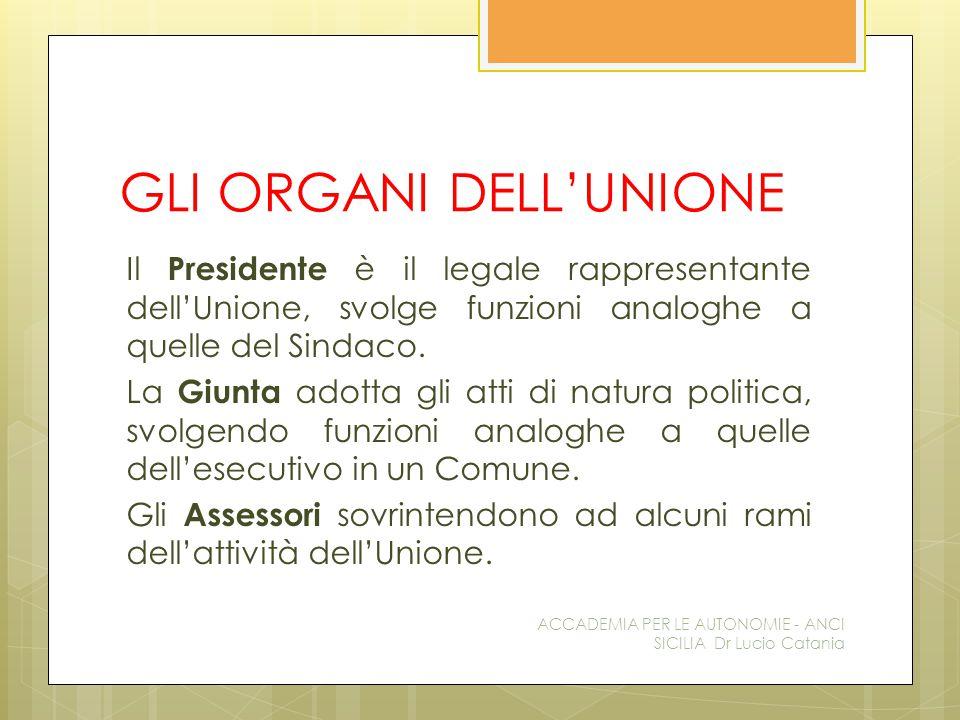 GLI ORGANI DELL'UNIONE Il Presidente è il legale rappresentante dell'Unione, svolge funzioni analoghe a quelle del Sindaco.