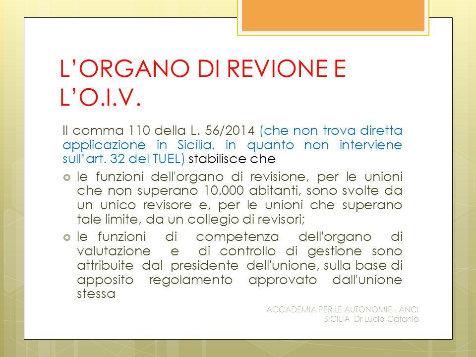 L'ORGANO DI REVIONE E L'O.I.V. Il comma 110 della L.