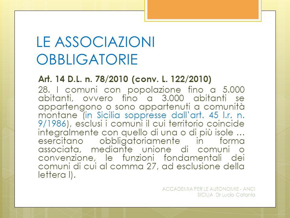 LE ASSOCIAZIONI OBBLIGATORIE Art. 14 D.L. n. 78/2010 (conv.