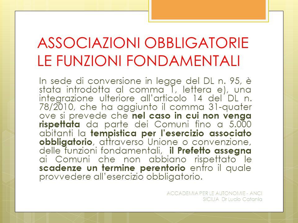 ASSOCIAZIONI OBBLIGATORIE LE FUNZIONI FONDAMENTALI In sede di conversione in legge del DL n.
