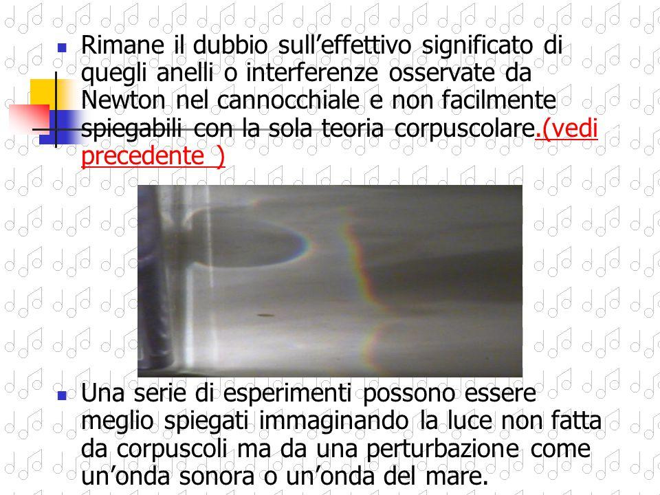 Conclude però che… …la natura della luce sia corpuscolare, …che il colore sia dovuto a particelle diverse di luce che viaggiano a velocità diversa (il