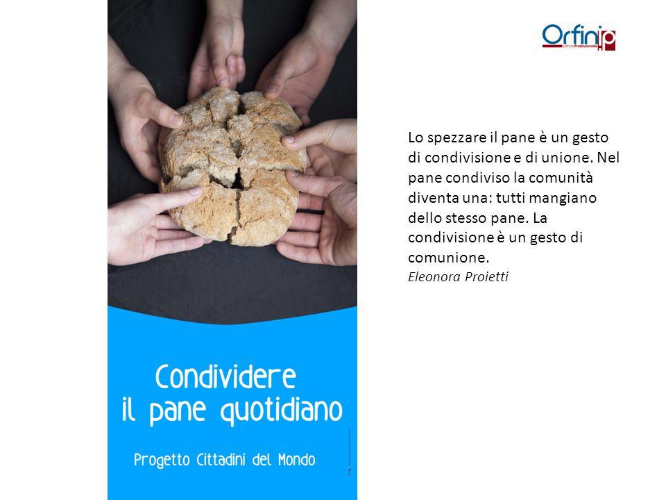 Lo spezzare il pane è un gesto di condivisione e di unione. Nel pane condiviso la comunità diventa una: tutti mangiano dello stesso pane. La condivisi