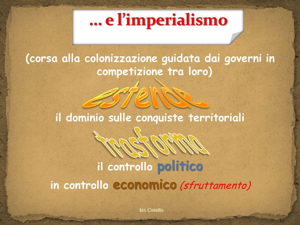 (corsa alla colonizzazione guidata dai governi in competizione tra loro) il dominio sulle conquiste territoriali il controllo p pp politico in control