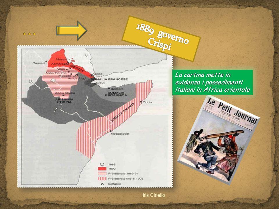 Iris Ciriello La cartina mette in evidenza i possedimenti italiani in Africa orientale