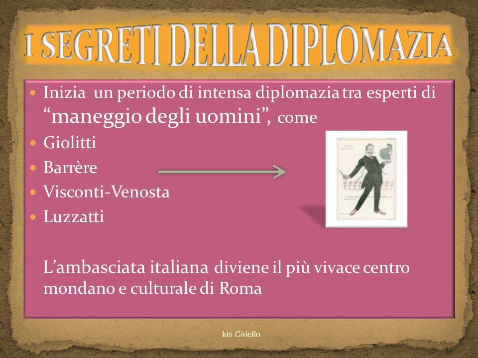 """Inizia un periodo di intensa diplomazia tra esperti di """"maneggio degli uomini"""", come Giolitti Barrère Visconti-Venosta Luzzatti L'ambasciata italiana"""