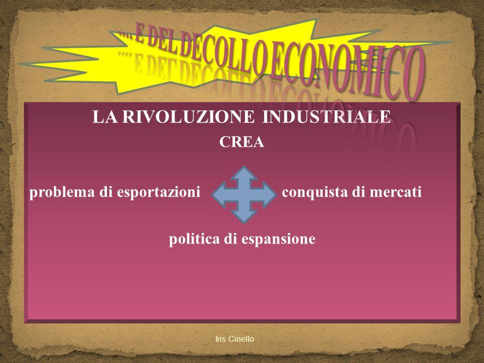LA RIVOLUZIONE INDUSTRIALE CREA problema di esportazioni conquista di mercati politica di espansione Iris Ciriello