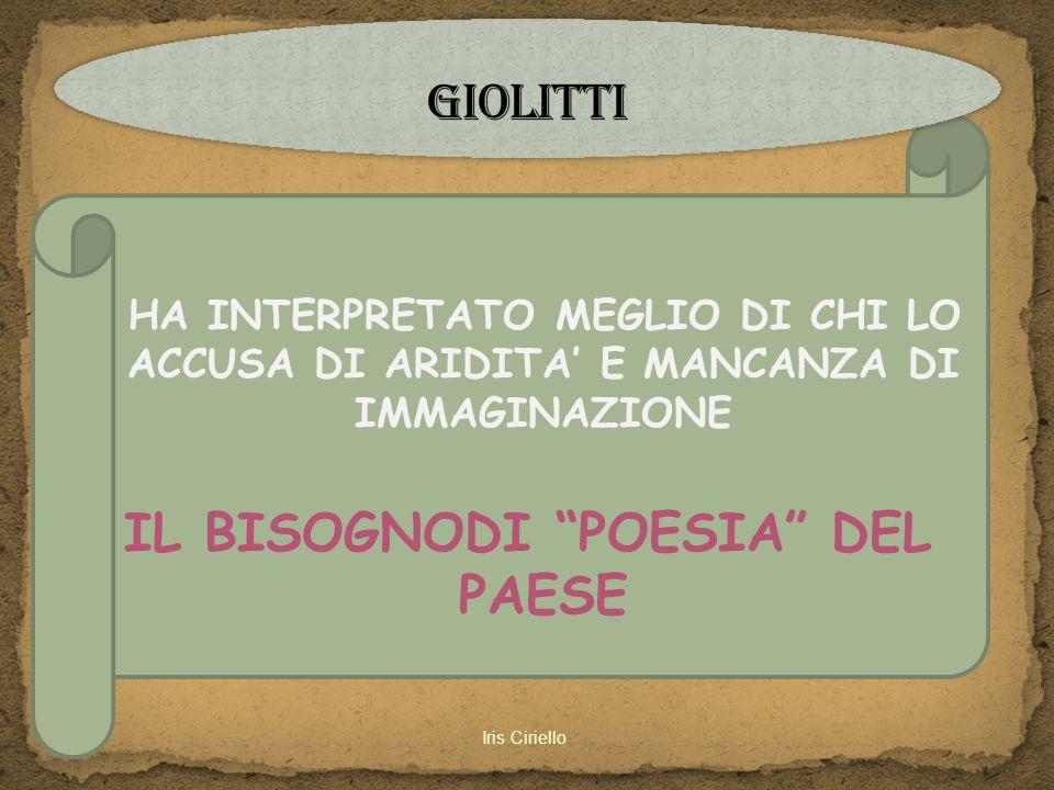 """HA INTERPRETATO MEGLIO DI CHI LO ACCUSA DI ARIDITA' E MANCANZA DI IMMAGINAZIONE IL BISOGNODI """"POESIA"""" DEL PAESE"""